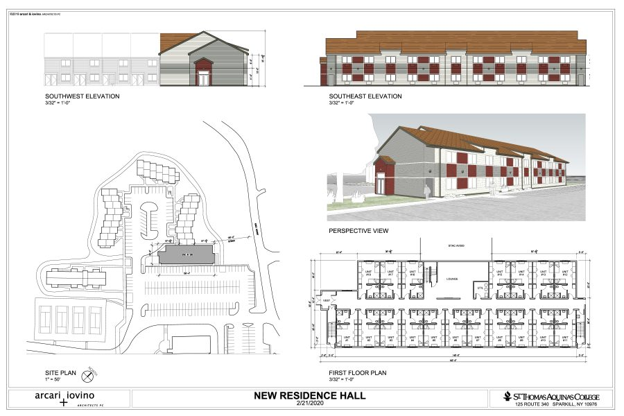 Photo courtesy of email sent by Mr. Donini: This is a diagram of the new residence hall from different angles as well as where it will be located.