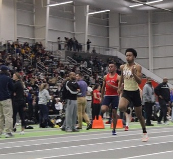 (Photo courtesy Spartan Athletics): Dante Brown placed second in the 200-meter dash at the East Coast Conference Indoor Track and Field Championships on Feb. 22, 2020 with