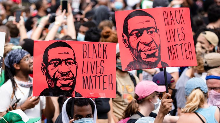 (Photo courtesy Lee Harvey, Sky Sports NBA): People march for justice for George Floyd during a Black Lives Matter protest.